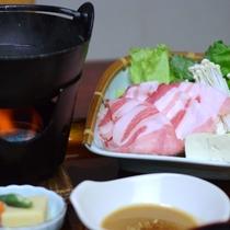 *【グレードアップ夕食(一例)】お料理のメインを<黒豚しゃぶしゃぶ>に!
