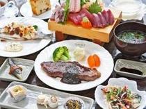 和洋折衷のディナーは彩りも味も手の込んだものばかり