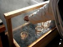 温泉で作るゆで卵♪噴湯公園にて作れます