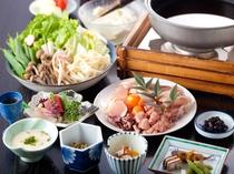 夕食(地鶏鍋)たっぷりのお野菜と共に。野菜の甘さもお出汁に溶け込みます