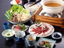 夕食(ぼたん鍋)大峰猪のぼたん鍋味噌仕立て。地元漁師さんより仕入れるブランド肉です