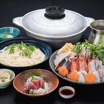 *【寄せ鍋ライトコース一例】お鍋と〆のシンプルなお手軽寄せ鍋コース。