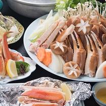 *【上蟹ちりコース一例】蟹ちりコースに焼き蟹もついた上コース。大好きな蟹を堪能したい方に。