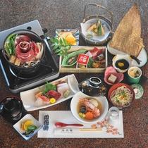 *【夕食一例】~薫コース~「前菜」・「油物」の2品追加&お刺身5点盛のお料理グレードアップ。