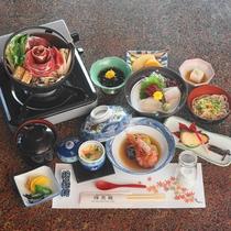 *【夕食一例】~彩コース~「お刺身の3点盛」と「蒸し物(茶碗蒸しなど)」が計11品楽しめます。