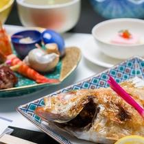 """*お夕食一例(のど黒)/脂がたっぷりのった""""のど黒""""はシンプルに塩焼きで。一度は食べてみたい高級魚。"""