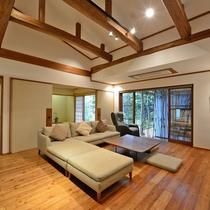 *【なぎ】119.3平米/ナチュラルモダンな調度類でまとまった、当邸で最も広い和洋室
