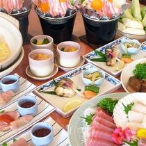 *宴会プラン和食コース一例/お刺身や焼き魚、鍋物ににぎり寿司など約8品をご用意致します。