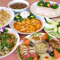 *宴会プラン中華コース一例/エビチリ、炒飯、フカヒレスープなど約8品をご用意致します。