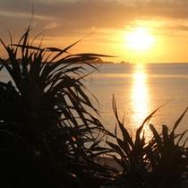 民宿光星から車で5分 米原ビーチの夕陽