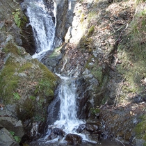 *目の前の橋を渡った先にある湯滝。「お湯のふるさと」として公園も整備されております。