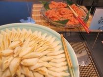 朝食バイキング 笹かま 辛子明太子