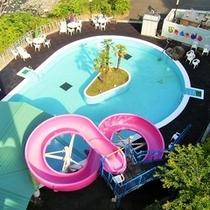 ウォータースライダー付屋外プール