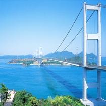 しまなみ海道・今治側の入り口である「来島海峡大橋」