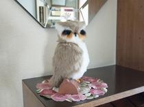 【お出迎え】ホテルの入口ではフクロウが皆様をお出迎え。