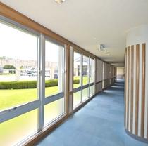 *客室への廊下 緑の敷地に立っているため清々しい雰囲気
