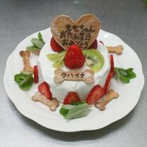 ワンちゃんお誕生日ケーキ一例:きな粉が入ったヘルシー生地がベースです