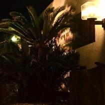夏の夜のホテル入口付近。熱帯アジアの感じになっています。(+_+)楽天500