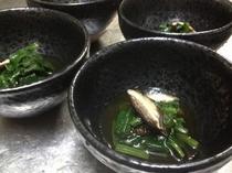 ほうれん草と焼き椎茸のお浸し