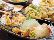 【料理】季節の郷土御膳:冬の一例。ホッキ・ヒラメ・水タコのお刺身。熊石の新鮮なお刺身は絶品です!