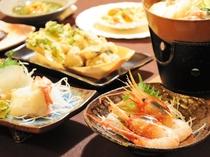 【料理】季節の郷土御膳:冬の一例。ボタン海老の小付け。季節の味をお届けします♪