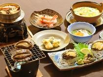 【料理】八雲熊石浜御膳。ウニとお鍋とアワビの三種料理で熊石の味をご堪能ください。