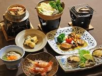 【料理】アワビのフルコース。生きた新鮮なアワビを踊り焼き・ステーキ・お刺身など贅沢に使用しました。