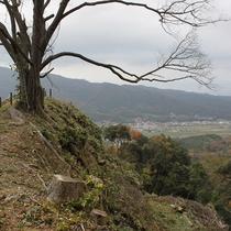 難攻不落であった尼子氏の居城「月山富田城」跡  木を伐採し、昔の山城の姿に戻しています。