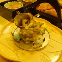 *【夕食一例】さざえ。磯の香りが食欲をそそります。