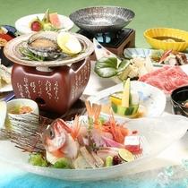 【夏味覚】鮑&地魚姿造り&能登牛