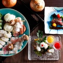 本場淡路産鱧づくし、島の郷土料理・鱧すき鍋と淡路牛(イメージ)