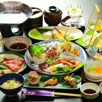 夕食全体の一例 【お造りグレードアップ】キトキト魚介をご賞味下さい