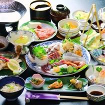 夕食全体の一例 【お寿司&姿焼き】贅沢に特選会席。