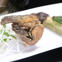 <料理一例>川魚の唐揚げと焼き茄子田楽
