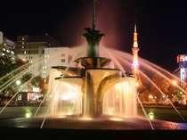 大通公園夜の噴水