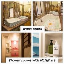 シャワールームや洗面台、お手洗いはどのお部屋にも付いておりませんので、他のゲストの方との共同利用とな