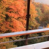 秋:露天風呂からの眺め