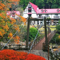 かじか橋(吊橋)を渡れば森の国ホテルに到着!