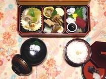 京風和膳の一例です【要別途事前予約】。彩り豊かなおかずとご飯とお汁物が美味しそう♪