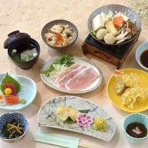*(秋A)豚と秋の味覚きのこ鍋コース/さっぱり甘みが美味しい豚、旬のきのこを鍋でいただきます