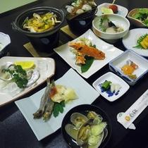 *【夕食全体例】新鮮な魚介類を季節や旬に合わせ、一番美味しい食べ方で、ご提供します。