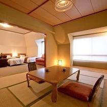 お部屋】和洋室デラックス~洋室ベッドルームと和室10畳がセットになったお部屋。