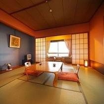 【お部屋】和室スタンダード(10畳)〜高原の温泉宿ならでは蔵王エリアの山々が一望