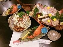 ほっこりカキ鍋と天然赤鯛の舟盛り