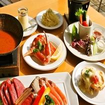季節限定:焼きガニ&イタリアン鍋(ラクレットもカニ)