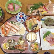 【磯会席一例】地物の魚介類が中心。質・量にこだわったコースです