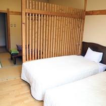 *【和洋室一例】和モダンの雰囲気で統一された室内。6畳の和室とベッドルームのゆったりとした造り。