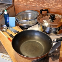 *コテージのキッチン用品一例