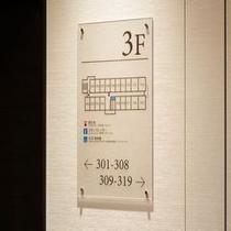 3階〜9階 ご案内表示