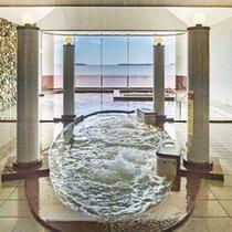 パノラマ展望大浴場/ジェットバス・打たせ湯・バイブラバス・ボディーシャワーなど日本海の絶景を楽しむ